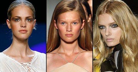 VÅRLIGE TRENDER: Dust, lyst og mye maskara hører med i vår- og sommersminken. Her fra Zac Posen, Calvin Klein og Gucci.