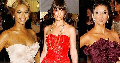 STJERNER: Beyonce Knowles, Katie Holmes og Eva Longoria var bare tre av en hel gjeng med store Hollywoodstjerner og designerne som samlet seg til motefest på The Met.