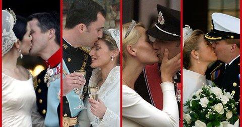 KYSSE KYSSE: Kongelig kyss er nøye dokumentert på bryllupsdagen. Her smeller kronprinsparene i de europeiske kongehusene til.
