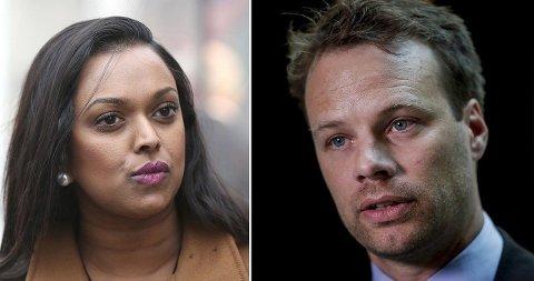 RASISMEDEBATT: Varaordfører i Oslo Kamzy Gunaratnam (Ap) og stortingsrepresentant Jon Helgheim møttes til rasisme-debatt hos TV 2.