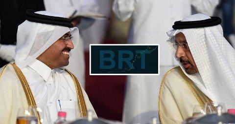 ENIGHET: Saudi-Arabias energi- industri og mineralminister Khalid al-Falih og President fo rOPEC, Qatar's energiminister Mohammed bin Saleh al-Sada i samtale. Grafen innfelt viser oljeprisens bevegelser onsdag.