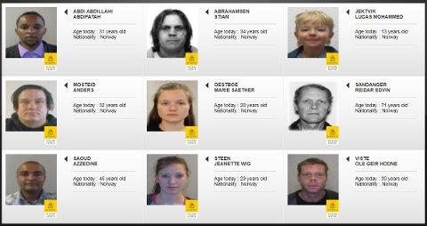 Ni nordmenn er offentlig etterlyst som savnet via Interpol (se bildet). Ytterligere 92 norske forsvinningssaker er etterlyst via Interpol, men identitetene til disse blir ikke delt med allmenheten, og er kun utstedt til medlemslandenes politimyndigheter.