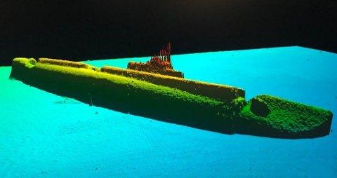 FUNNET: Et sonarbilde av USS Grayback liggende på nesten 430 meters dyp.