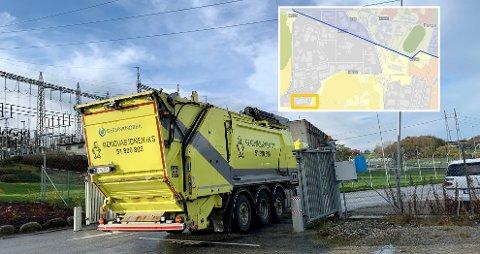 KJØRES TIL SANDNES: Søppelet fra innbyggerne i Stavanger står for 11.000 tonn CO2-ekvivalenter årlig, men teller ikke på kommunens eget klimabudsjett fordi det kjøres til Sandnes - en drøy kilometer utenfor kommunegrensen.