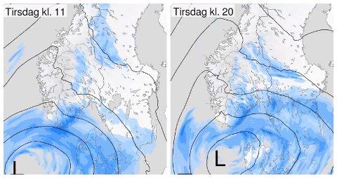 Prognosene tirsdag morgen viste lavtrykk som drar inn over Sør-Norge fra sør tirsdag.