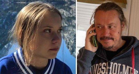 FAR IKKE FORNØYD: Det er flere grunner til at Greta Thunbergs far Svante Thunberg (til høyre) ikke er fornøyd med datterens klimakamp.