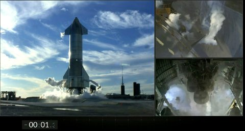 Oppskytingen av Starship ble avbrutt da det gjensto 1,3 sekunder av nedtellingen. Foto: SpaceX via AP / NTB