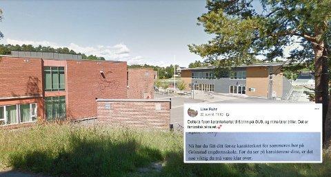 """KARAKTERER: Lærerne på Grimstad ungdomsskole ønsket å gi elevene på 8. trinn et annet perspektiv enn """"bare tallet"""" da de delte ut karakterkortene før sommeren."""
