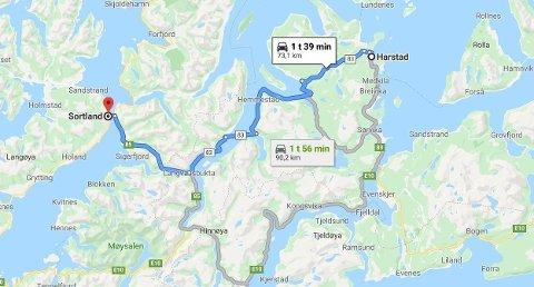 Sortland kommune nord for Lofoten (Harstad halvannen times kjøring unna i nordøstlig retning).