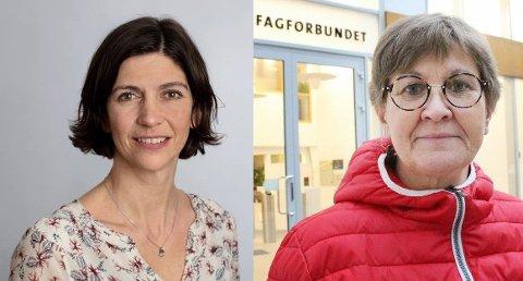 TØFFE FRONTER: Stendi-direktør Ingvild Kristiansen vrs. Fagforbundets leder Mette Nord.