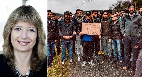 DEMONSTRERTE: Rundt 60 asylsøkere demonstrerte i Sarpsborg mot forholdene ved asylmottaket de bor på. Etter massiv kritikk, tar NOAS asylsøkerne i forsvar.