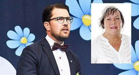Sveriedemokraternas Elisabeth Peterson er politiker i Växjö. Foto: Sverigedemokraterna / montasje