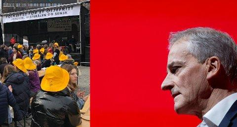 INGEN FOLKEFEST I AP: Arbeiderpartiets leder Jonas Gahr Støre led nederlag om oljevirksomheten - og utenfor hadde miljøbevegelsen folkefest.