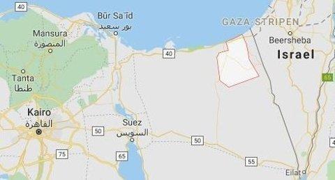 SINAI-HALVØYA: Selvmordsangrepet skal ha skjedd like ved en politistasjon i byen Sheikh Zuweid på Sinai-halvøya i Egypt (se området med rød merking rundt).