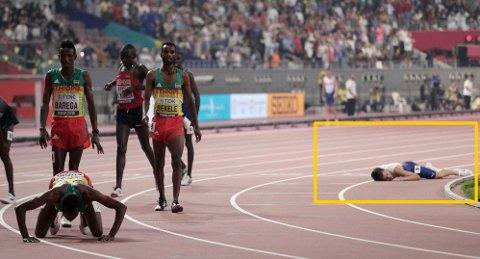 RETT UT: Jakob Ingebrigtsen var kake etter den gode 5000-meteren. Kort tid etter dette ble han hjulpet opp av Justyn Knight.
