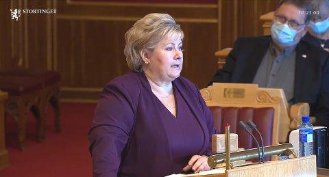 SPØRRETIMEN: Statsminister Erna Solberg stiller for regjeringen i Stortingets muntlige spørretime onsdag.