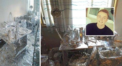 Runar Kile Holberg kom hjem til Fredrikstad fra Oslo og fant alle eiendeler i hybelen dekket av aluminiumsfolie.