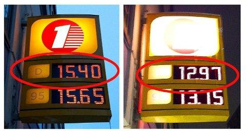 SJEKK FORSKJELLEN: Det er stor prisforskjeller mellom bensin- og dieselprisene på mandager og torsdager, viste Nettavisen Økonomis uhøytidelige sjekk i vinter.