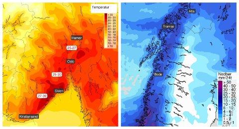 VARMT OG KALDT: En smak av hetebølgen i sør og en våt og kjølig start på fellesferien i Nord-Norge, der snøgrensen kan synke ned til 500-600 meter over havet.