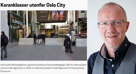 Arne Jensen i Redaktørforeningen forsvarer HRS sin bruk av dette bilde i en artikkel om betongklosser utenfor Oslo City.
