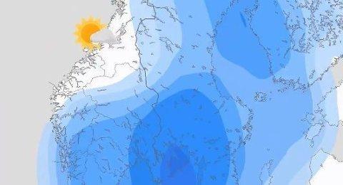 Lavtrykk fra vest gir fuktig og kjølig vær i det meste av SørNorge til helgen
