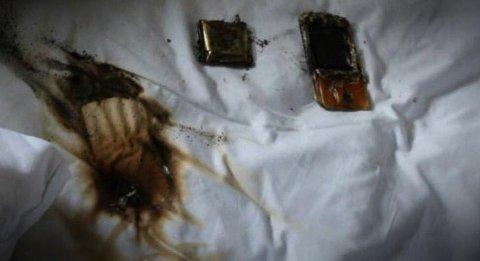 BRANNTILLØP MED MOBILTELEFON: Her gikk det nesten galt da mobiltelefonen overopphetet i senga.
