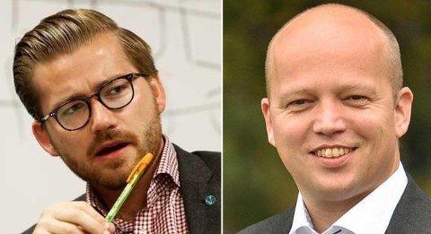 Venstres Sveinung Rotevatn (t.v.) harselerer kraftig med Senterpartiets leder Trygve Slagsvold Vedum etter mistillitsforslaget mot klima- og miljøminister Vidar Helgesen (H).