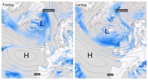 LAVTRYKK PÅ VEI: I den kommende julehelga får vi besøk av et stort lavtrykk som påvirker været hele veien fra Portugal i sør til Svalbard i nord.