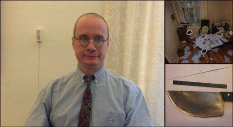 Oswaldo Jose M. Dos Santos (51) erkjente at han hadde forsøkt å drepe direktøren på Fleischer´s i september i fjor med kjøttøksen til høyre i bildet. Bildet i høyre hjørnet viser kontoret hvor drapsforsøket fant sted.