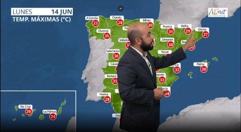 HETT SØR I EUROPA: Meteorologene i spanske Aemet varslet temperaturer opp i 37 grader mandag.