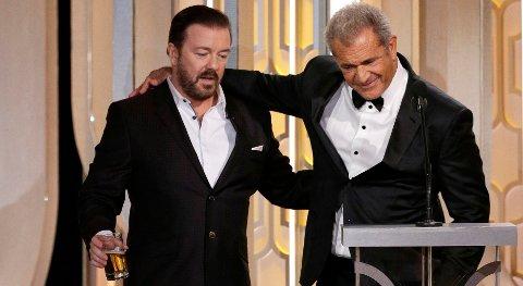 GJENSYN: Ikke ekstremt hjertelig, men tilsynelatende vennskapelig gjensyn mellom Ricky Gervais og Mel Gibson. Da Gervais ledet Golden Globe i 2010, fikk han kritikk for fornærmelsen av Gibson.