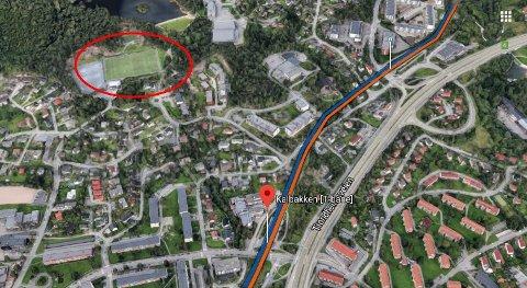 Grei-banen nordvest for Kalbakken T-bane-stasjon.
