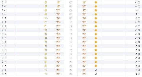 VÆRET LØRDAG: Sol fra skyfri himmel eller sol, regn, lyn og torden? Værmeldingene for Oslo lørdag fra Storm (tabellen til venstre) og Yr (høyre) spriker stort i tidsrommet mellom 12 og 17.