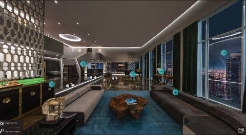FLERE VALG: Du har flere valg du kan ta mens du utforsker leiligheten, og enkelte av interaksjonsknappene viser videoklipp, eller et opptak av stemmen til Christian Grey. Foto: Universal Studios