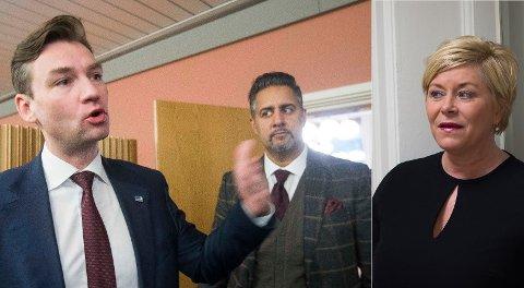 SMÅLIG: Høyres Henrik Asheim og Venstres Abid Raja langer ut mot regjeringen og finansminister Siv Jensen for å være smålig og byråkratisk.