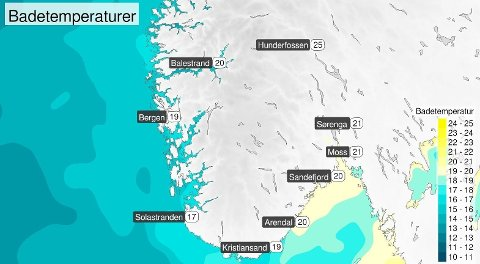 VARMT I VANNET: Varmest er det i sjøen innover i Oslofjorden, men langs store deler av kysten i sør er det behagelige temperaturer, melder meteorologene.