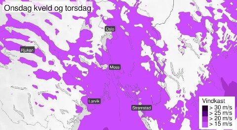 BLÅSER OPP: Meteorologene venter sterk vind i Oslofjorden onsdag og torsdag.
