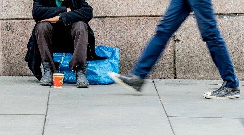 - VIL OFTE IKKE HA MAT: Politiet oppfordrer folk til å ikke gi tiggere matvarer og kvitteringen for kjøpet.