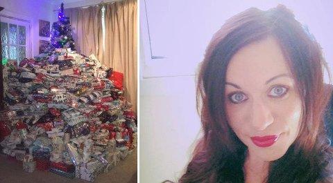 MANGE PAKKER: Emma Tapping gir barna sine mange pakker til jul.