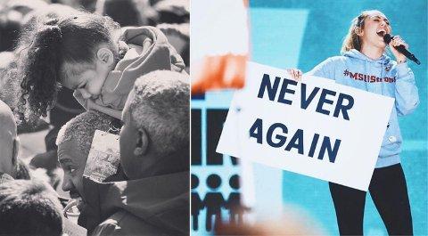 Kanye West, North West og Miley Cyrus under March For Our Lives.