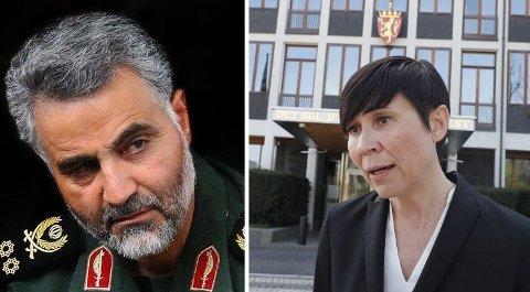 VENTER PÅ SVAR: Utenriksminister Ine Eriksen Søreide (H) har ikke villet fordømme USAs likvidering av den iranske generalen Qasem Soleimani, men er dypt bekymret og har bedt amerikanerne om en begrunnelse. Hun venter ennå på svar.