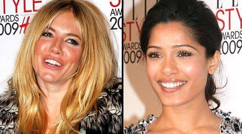 STYLE AWARDS: Både Sienna Miller og Freida Pinto stakk av med priser under festen i London mandag kveld.