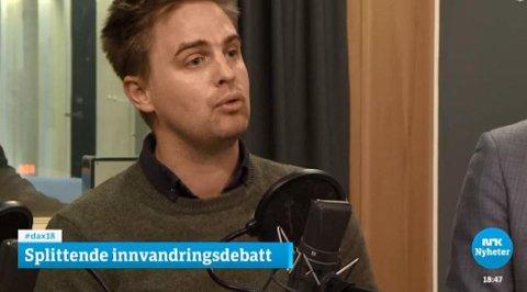 Eivind Trædal i Miljøpartiet De Grønne. Her avbildet under en debatt i Dagsnytt atten.