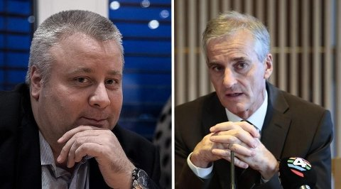 Jonas Gahr Støre (til høyre) mener landbruksminister Bård Hoksruds tanker om klima vil gi dårligere politikk.