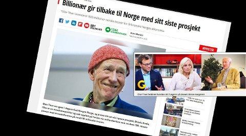 BLØFF: Ifølge denne skjermdumpen blir Olav Thon misbrukt i nettsvindel.