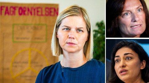 INVOLVERT: Det er ikke urimelig å tro kunnskaps- og integreringsminister Guri Melby (tv) kan ha vært direkte involvert i Født Fri-saken, der IMDi-direktør Libe Rieber-Mohn (øverst) og Shabana Rehman er sentrale aktører.