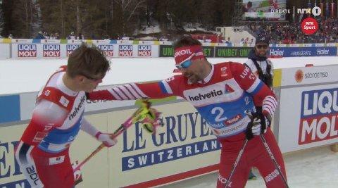 FORBANNET: Sergej Ustjugov var tydelig forbannet på Johannes Høsflot Klæbo etter målgang.