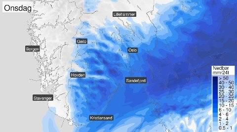Slik går nedbøren over Østlandet og Sørlandet onsdag.