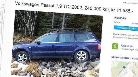 Denne VW Passaten er billig. Man forstår hvorfor når man ser hvor den er «parkert». Foto: Faksimile fra finn.no.