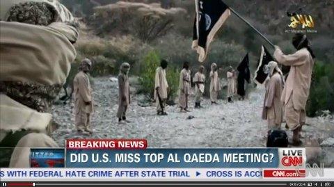 STØRSTE AL-QAIDA-MØTET PÅ FLERE ÅR: Video sluppet på nett viser det som trolig er den største og farligste Al-Qaida samlingen på flere år. Kilde: CNN.